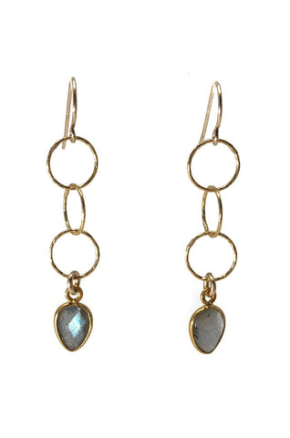 Longevity Labradorite Petal Earrings