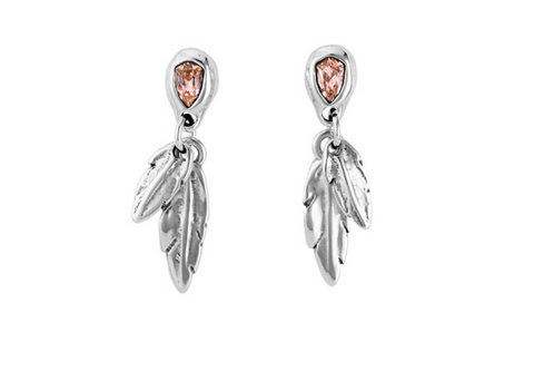 """Look At Me"" Feather Earrings – Rose Crystal"