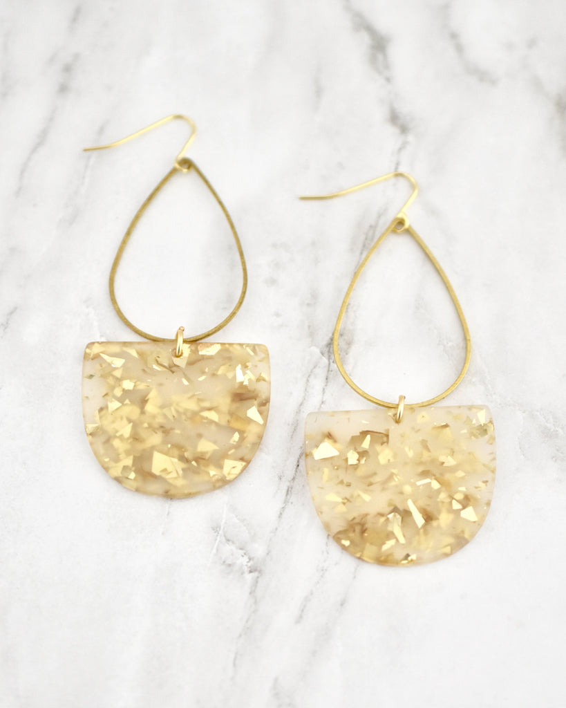 Emmy Half Oval Earrings, Gold Frost