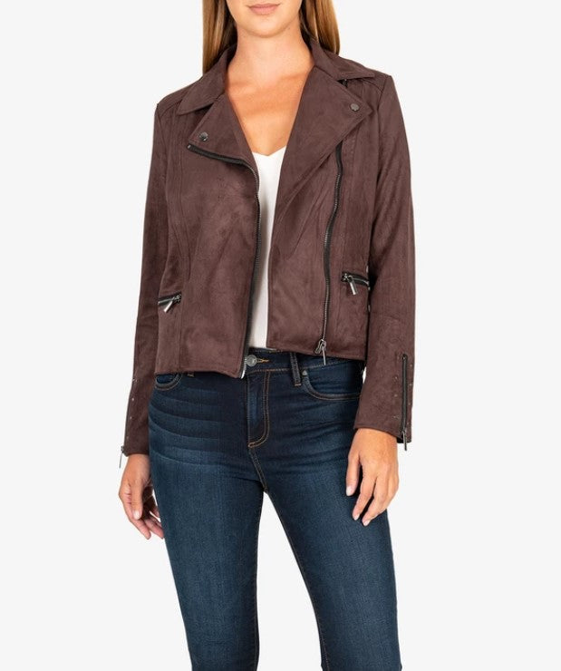 Eveline Vegan Suede Moto Jacket in Chocolate