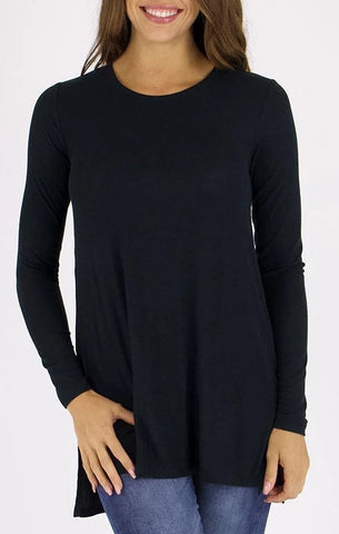 Grace & Lace 'Long Sleeve Tunic Tee' - Black