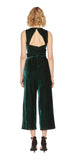 Simone Velvet Wrap Jumpsuit In Hunter Green