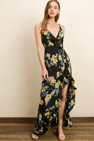 Jasmine Ruffle Maxi Dress - Black