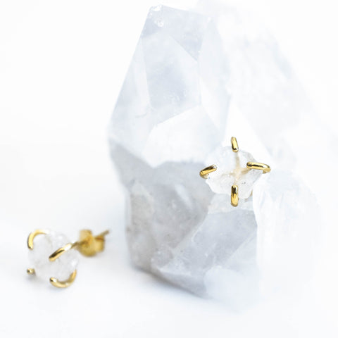 Back in stock! Clear Quartz Gold Prong Earrings