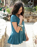 Fable Peplum Tee In Washed Teal By Grace & Lace