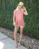 Fable Peplum Tee In Washed Apricot By Grace & Lace