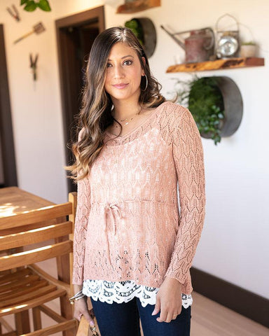 Fairy Tale Tie Sweater by Grace & Lace, Rose Gold