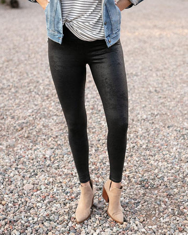 Faux Leather Leggings by Grace & Lace, Black