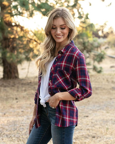 Favorite Button-Up Plaid by Grace & Lace, Wine/Navy