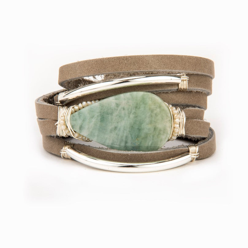 Flynn Aquamarine Leather Bracelet