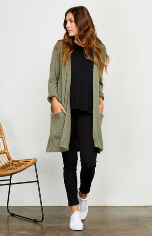 Berlin Cardigan, Heather Olive