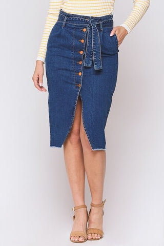 Ginger Button Front Denim Pencil Skirt