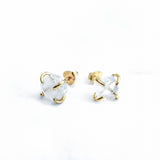 Clear Quartz Gold Prong Earrings