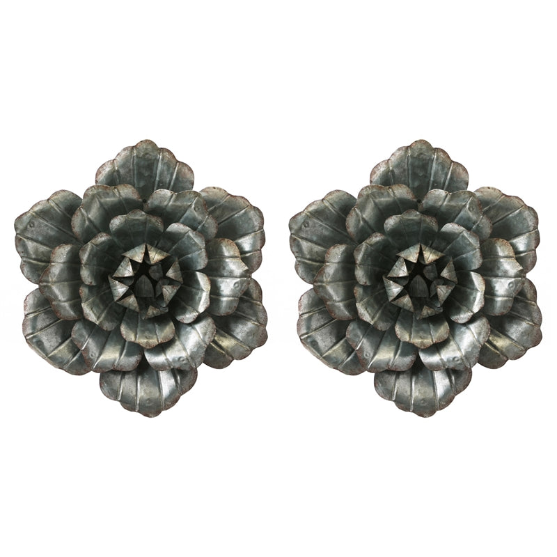 Set of 2 galvanized metal flowers
