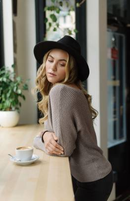 Meredith Wide Neck Knit Sweater
