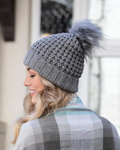 Grace & Lace Faux Fur Pom Hat in Heather Grey