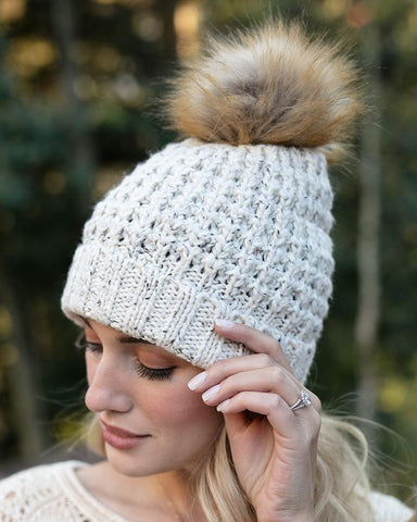 Grace & Lace Faux Fur Pom Hat in Heather Oat