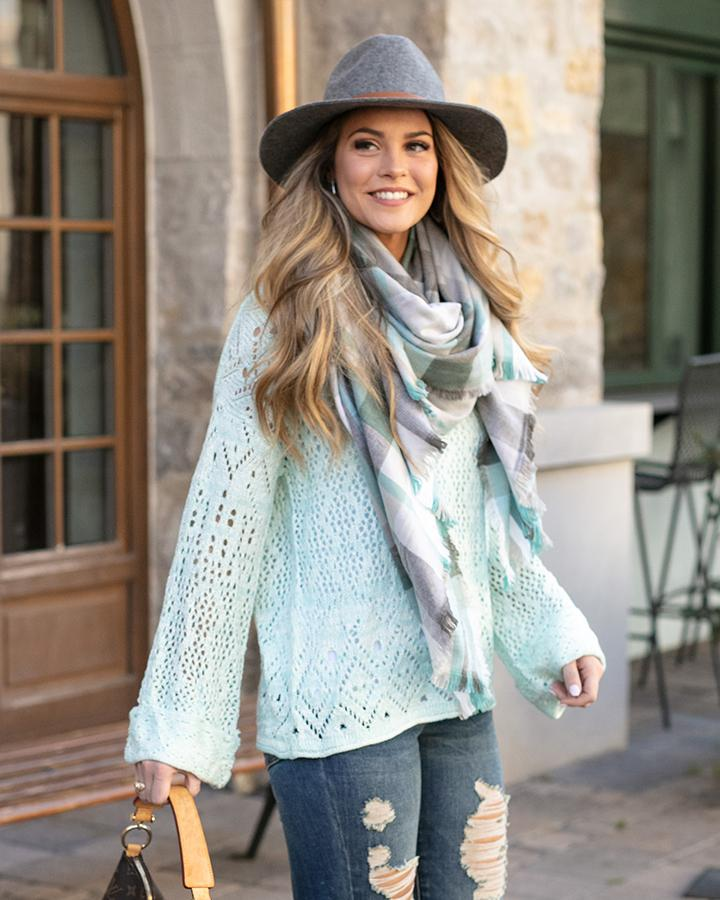 Grace & Lace Frost Creek Pointelle Sweater in Icy Mint