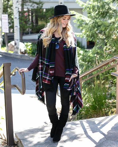 Grace & Lace Pocket Poncho - Black Plaid