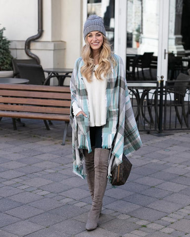 Grace & Lace Pocket Poncho Scarf - Winter Mint