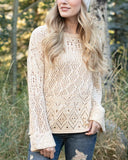 Grace & Lace Frost Creek Pointelle Sweater in Cream