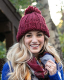 Grace & Lace Knit Pom Hat in Holly Berry