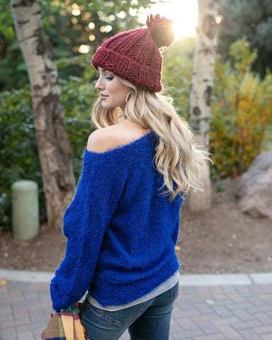 Grace & Lace Snuggle Up Sweater in Bold Blue