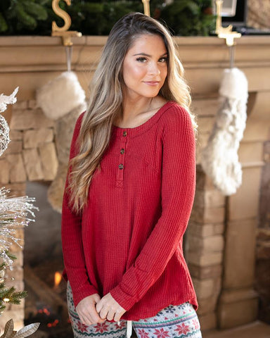 Grace & Lace Thermal Henley - Red