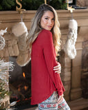 Grace & Lace Thermal Henley - Red - Back View