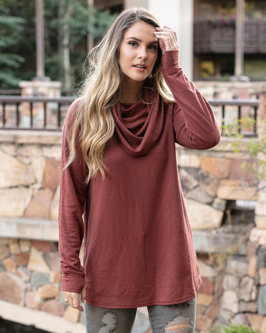 Grace & Lace Ultra Soft Cowl Neck Tunic
