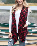 Grace & Lace Winter Plaid Vest in Red and Black