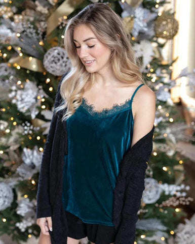 Grace & Lace Velvet Cami - Green Jewel