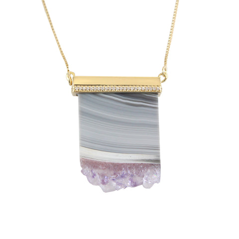 Amethyst Druzy Pendant Necklace