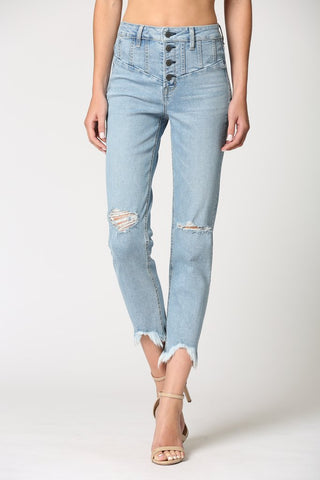 Zoey Distressed High Rise Jeans