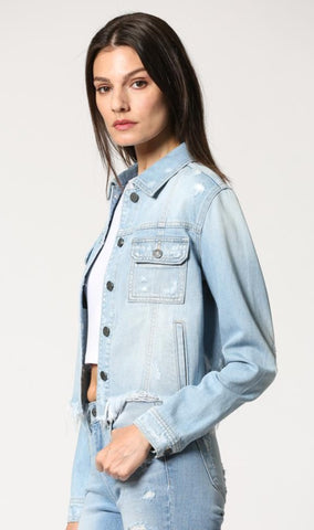 Rebel Frayed Light Denim Jacket