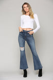 Happi Medium Wash Distressed Flare Jeans