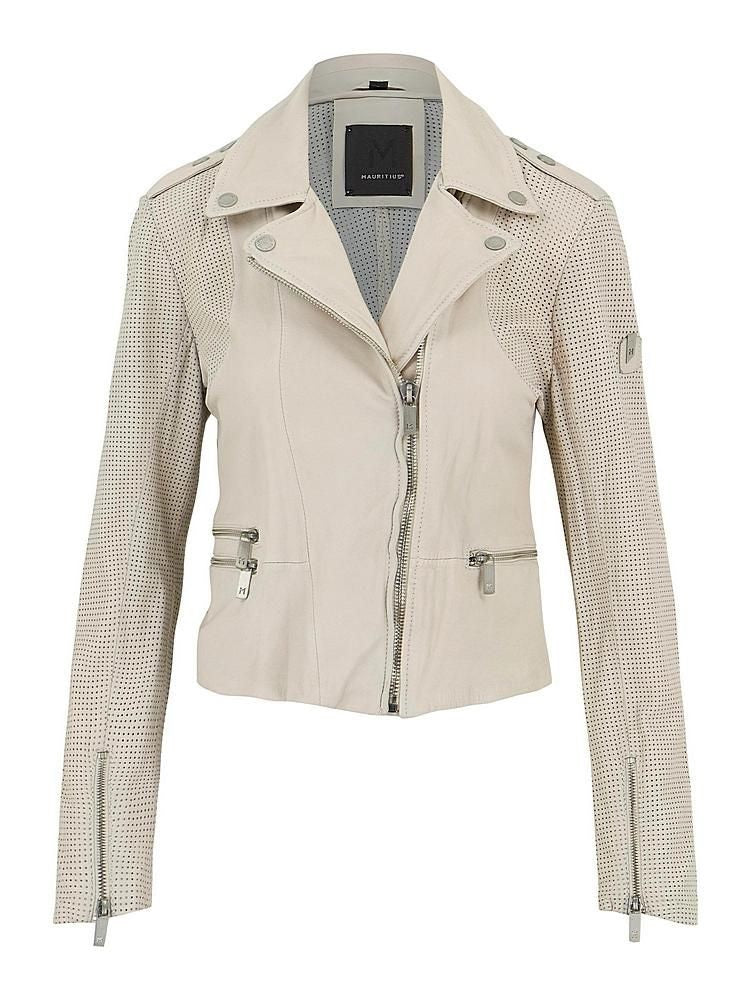 Hera Off White Leather Jacket