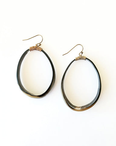 Horn Hoop Earrings, Black Small