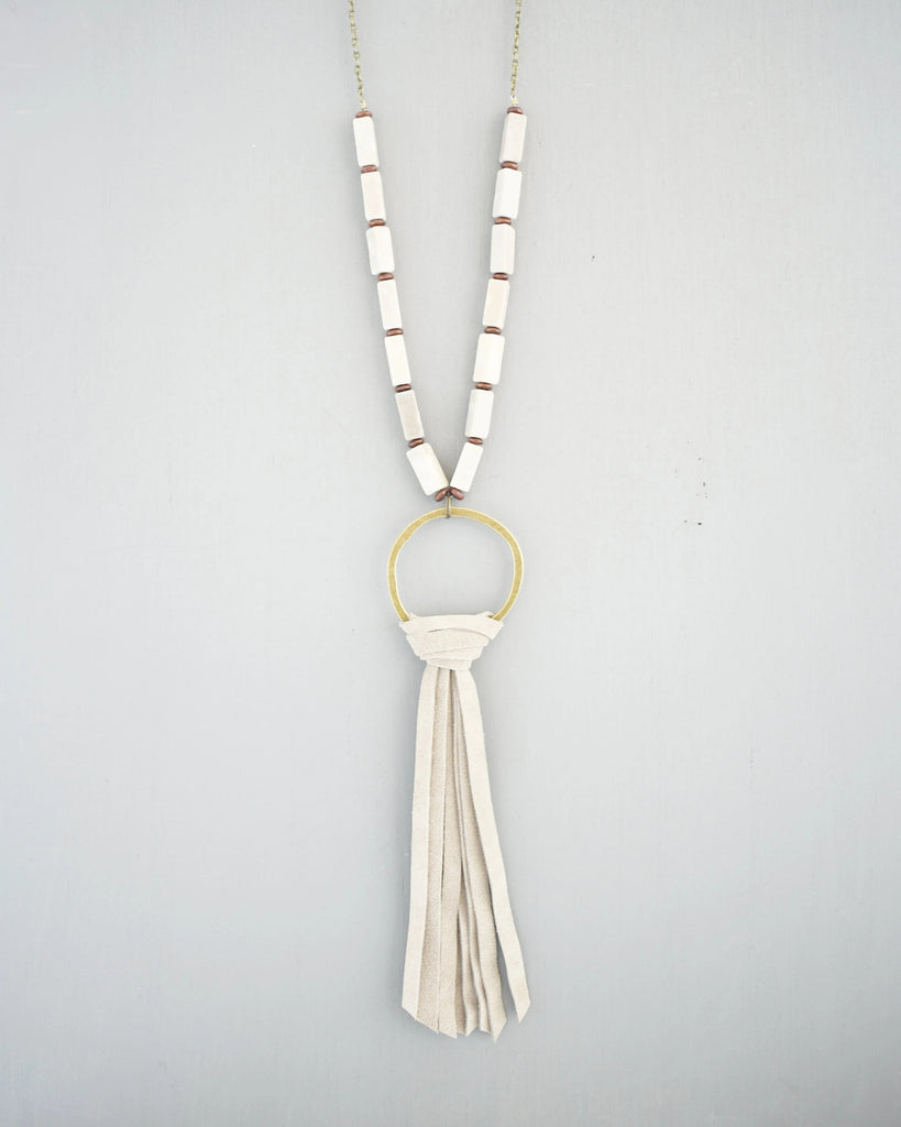 Maybelle Leather Tassel Necklace, Taupe
