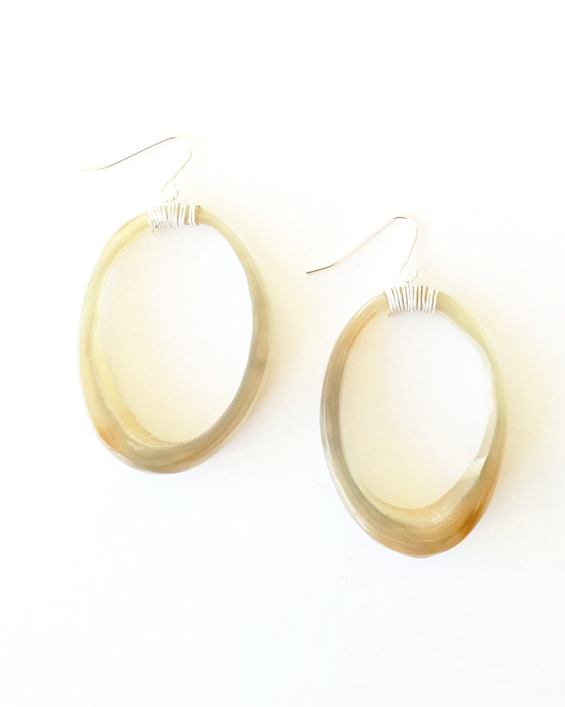 Horn Hoop Earrings, Natural Small