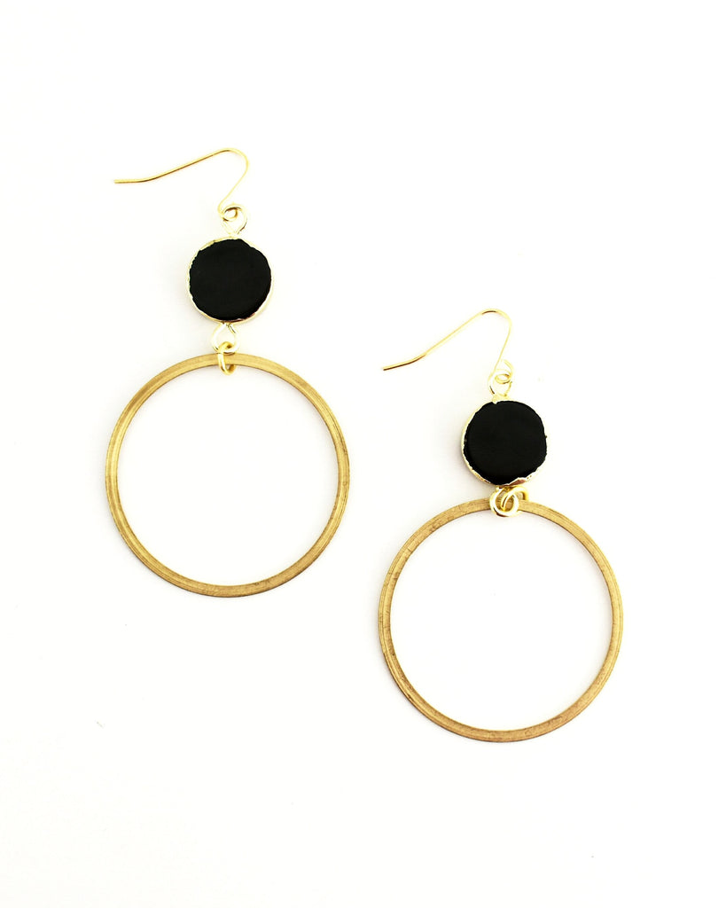 Essi Earrings, Onyx