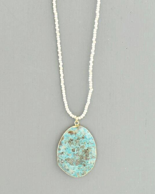 Annie White Turquoise Necklace, Ocean Jasper