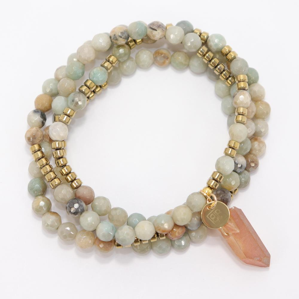 Lila Babe Wrap Bracelet In Green Agate