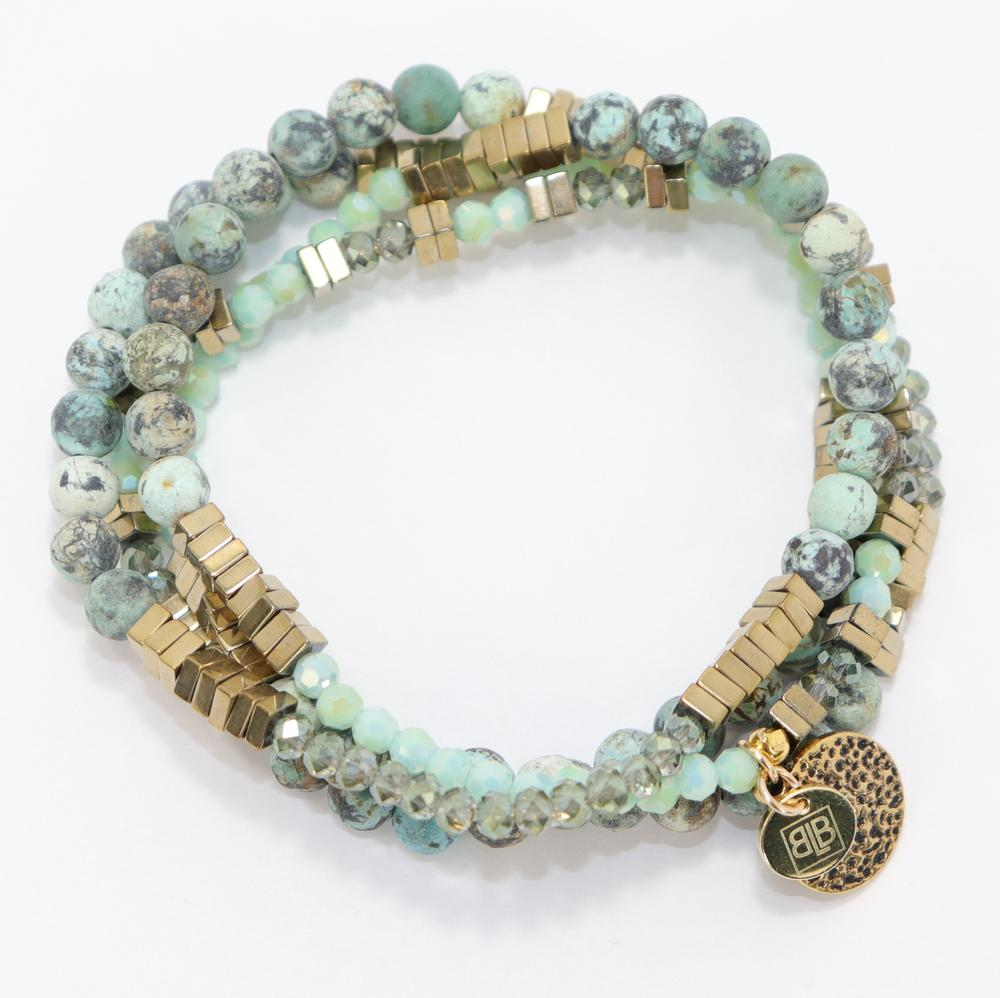 Lila Babe Lucky Green & Turquoise Agate Bracelet