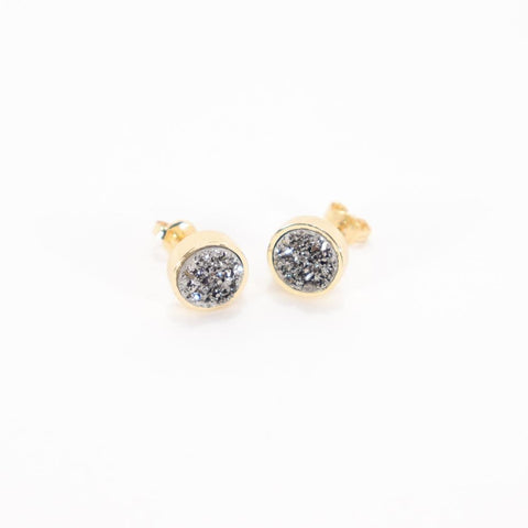 B.B. Lila Gold Druzy Studs Earrings