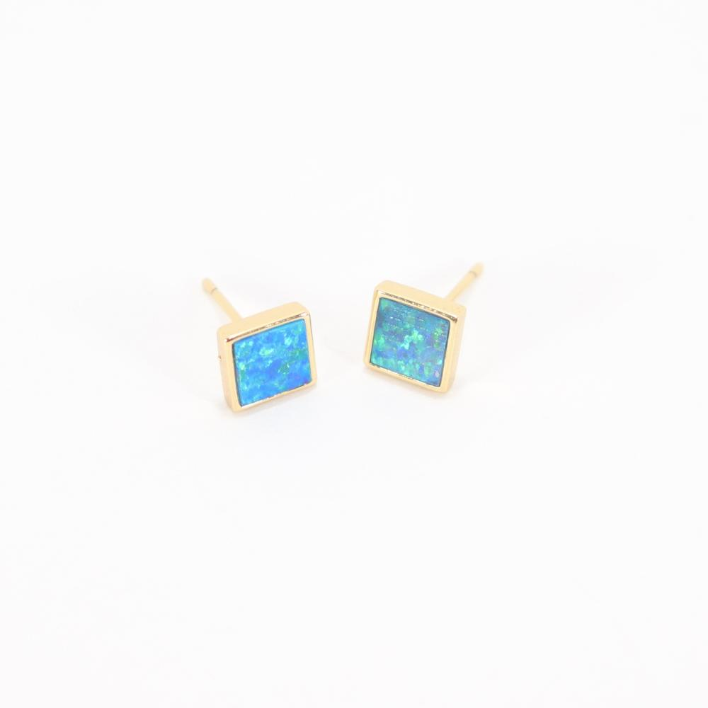 Stud Muffin Square Blue Earrings