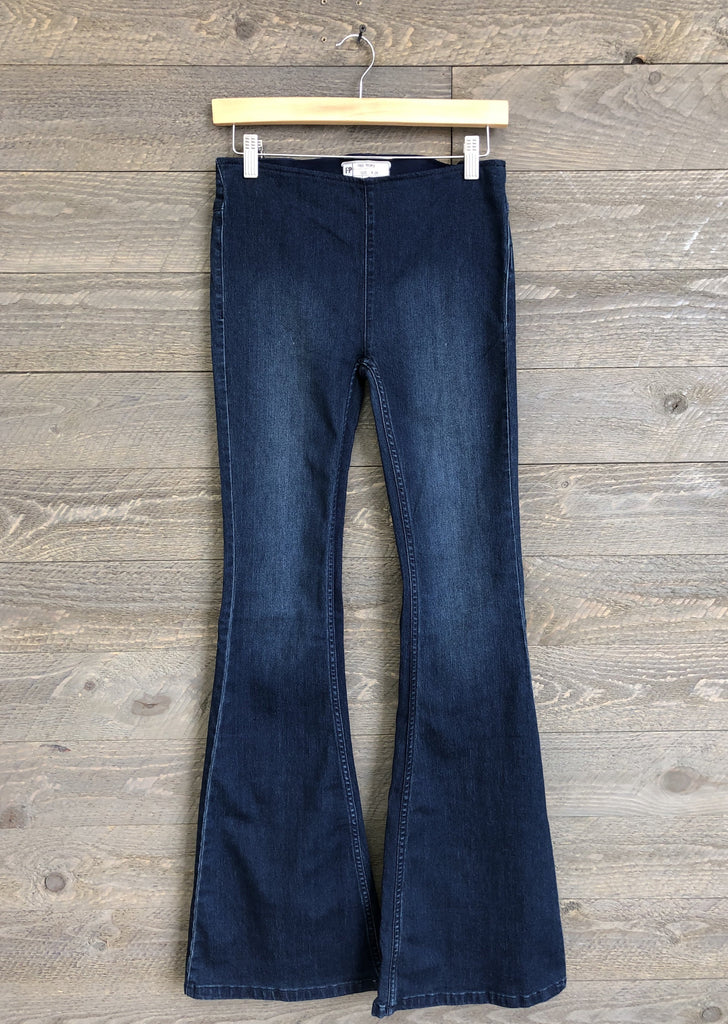 Free People 'Penny' Pull-On Flares In Rich Blue
