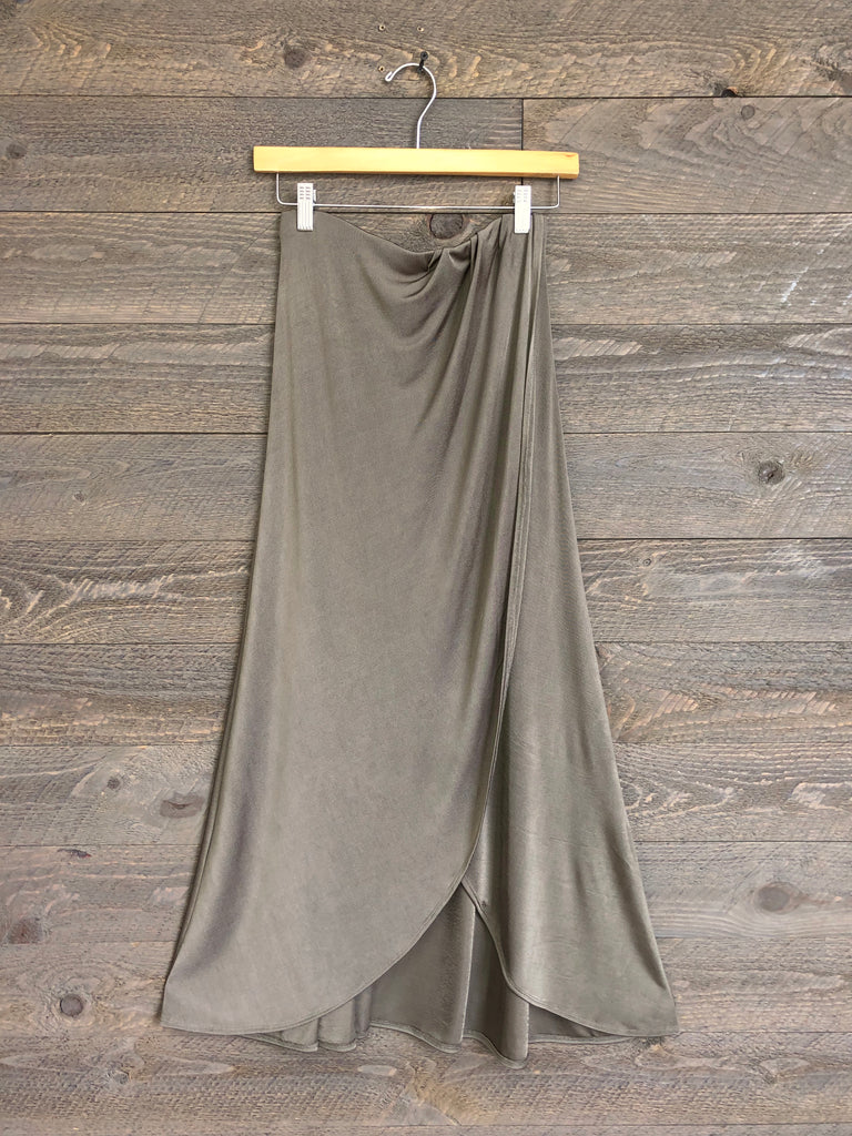 Free People 'Smoke & Mirrors' Midi Skirt In Army