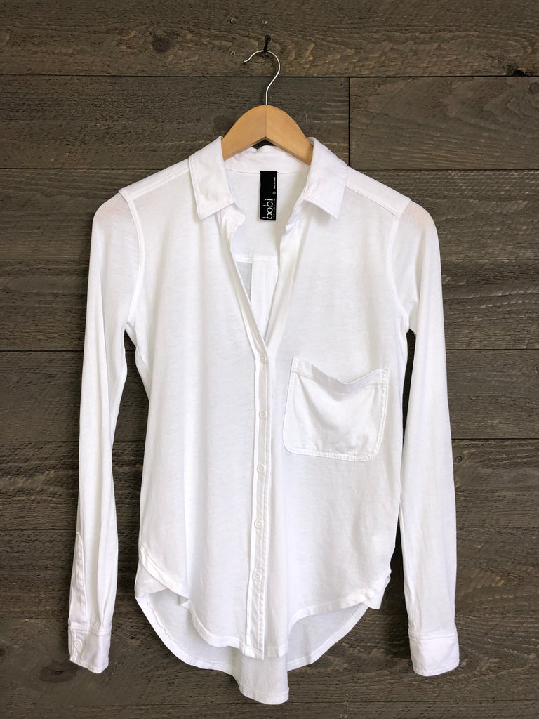 Bobi Jurnee Knit Button-Up In White
