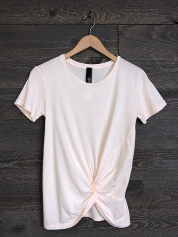 Bobi Ambrosia Front-Knot Tee In Bare